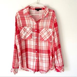 Sanctuary Tomboy Soft Cotton Plaid shirt medium